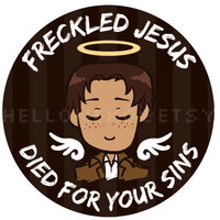 """Attack on Titan - """"Freckled Jesus Died for Your Sins"""" button"""