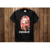 BAPE summer men's sultry head personality print short-sleeved round neck T-shirt F-A-KSFZ black