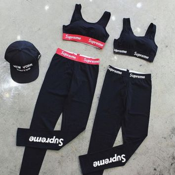 Supreme Cotton Tank Bralette Leggings Sports Yoga Set Two-Piece