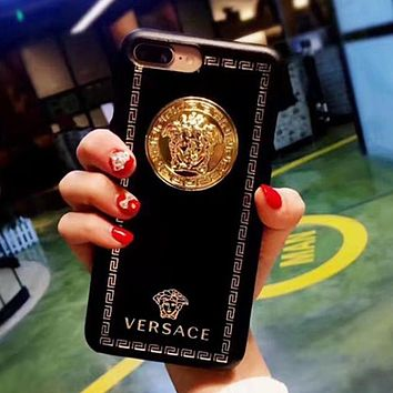 Versace Popular Women Men Personality Leather iPhone Phone Cover Case For iphone 6 6s 6plus 6s-plus 7 7plus 8 8plus X Black I13338-1