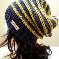 Grey and Yellow Stripe Slouchy Hat - Crochet Slouchy Beanie - Womens Slouchy Hat -  Baggy Beanie - Oversized Beanie - Hipster Hat
