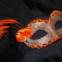 Orange and Silver Feather Mask