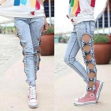 Hollow Out Side Bow Skinny Jeans Pants
