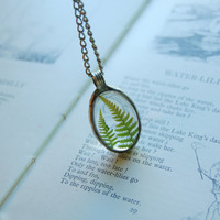 Real FERN necklace, dried fern, terrarium necklace, plant jewelry, old silver jewelry, real dried flower, forest necklace, flower child