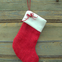 Red Burlap Christmas Stocking. Christmas stocking. Christmas decorations. Christmas ornament