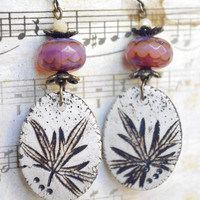 ceramic earrings Nature leaf jewelry - artisan jewelry