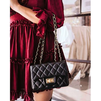 Small Quilted Faux Leather Handbag with Chain Strap - Black