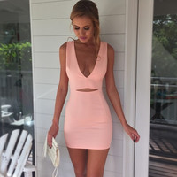 Sexy Deep V-Neck Bodycon Dress