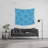 Garden in blue Wall Tapestry by juliagrifoldesigns