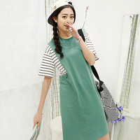 Green Round Collar Mini Dress with Striped Shirt