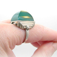 Dramatic Art Deco Ring, Large Green Glowy Chrysoprase in Silver, Stylish Step Design Statement Ring