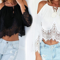 Fashion Sexy Womens Off Shoulder Lace Chiffon Shirt Boho Loose Crop Tops Blouse = 1956634948