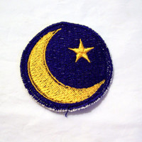 Embroidered Moon and Star Iron/Sew On Patch