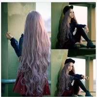 lady sexy 100cm Long Bangs hair full wigs Wavy Curly Cosplay lolita party anime Womens wig Brown Gray Hair Wigs/Wig