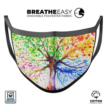 Abstract Colorful WaterColor Vivid Tree V3 - Made in USA Mouth Cover Unisex Anti-Dust Cotton Blend Reusable & Washable Face Mask with Adjustable Sizing for Adult or Child