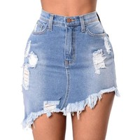 Traci Denim Skirt - Fashion Women Ladies Ripped Tassel Hem Denim Jeans Short Mini Skirt Dress