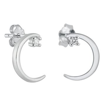 .925 Sterling Silver Thin Crescent Moon CZ Ladies and Girls Stud Earrings