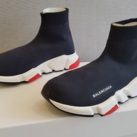 Balenciaga Speed Trainer Knit Black Red White 40 EU - 7 US - 6 UK - With Receipt
