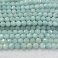 Chinese amazonte faceted round beads - natural amazonite gemstone beads - blue amazonite stones supplies - blue stone beads -15inch