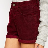 ASOS High Waist Cord Mom Shorts in Berry