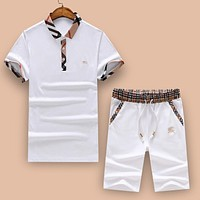 Versace 2018 tide brand lapel polo shirt short-sleeved shorts two-piece F-A00FS-GJ white