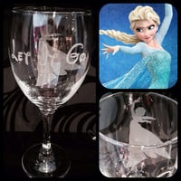 Personalised Disney Elsa Frozen Silhouette Wine Glass With Free Name Engraved In Disney Font. Totally Unique Gift For Any Disney Fan!