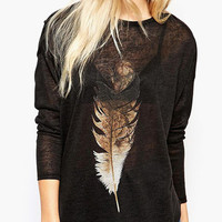 Feather Print Long Sleeve Casual Top