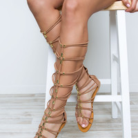 Up To No Good Gladiator Sandals - Camel