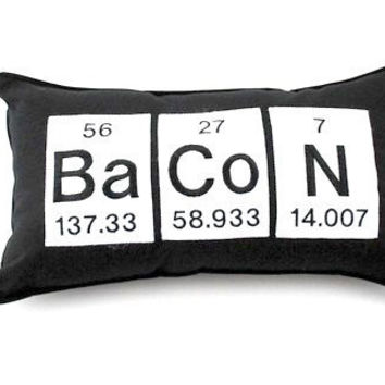 Bacon Periodic Table of Elements Embroidered Pillow / Cushion