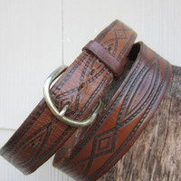 70s Mexican Tooled Western Leather Belt, W38 W40 W42 / 97-109 cm // Vintage Cowboy Belt