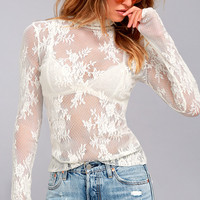 Free People Sweet Secrets White Lace Turtleneck Top