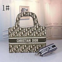 DIOR Fashionable canvas embroidered tiger shopping bag for ladies handbag