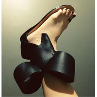 Summer new style large bow set toe flat sandals female flower hollow velcro female