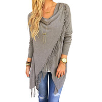 Grey Tassel Sweater Women Long Sleeve Black Knitted Pullover Loose Casual Irregular Poncho Outwear Draped Fringe 2015 Boho