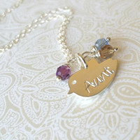 Aunt Necklace-Thai Silver Chick Charm Hand Stamped with  Aunt with Birthstones of Choice-Gift for Aunt/Auntie Gift