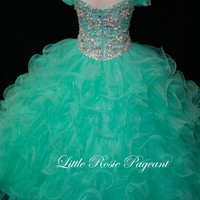 Off The Shoulder Beaded Little Rosie Pageant Dress LR2021