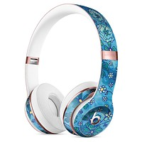 Floral Pattern on Blue Watercolor Full-Body Skin Kit for the Beats by Dre Solo 3 Wireless Headphones