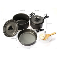 Outdoor Camping Picnic Aluminum Alloy Tableware Cookware Pots Frying Pan Bowl Set For Camping Outdoor Travel