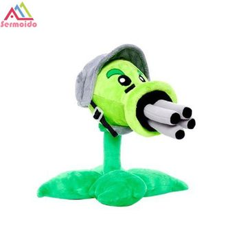 sermoido Plants vs Zombies Toys PVZ Gatling Pea Cute Soft Peashooter Plant Plush Toy Tall Doll Baby Toy for Kids Gift DBP214