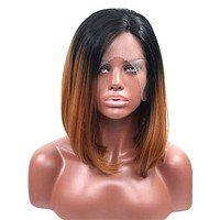 Short Peru Brown Ombre Bob Synthetic Lace Front Wig