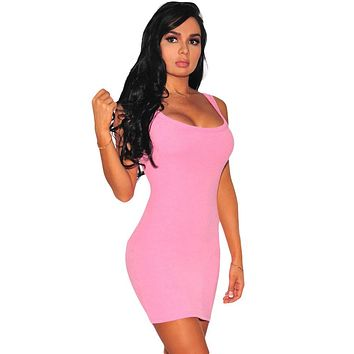 Pink Scoop Neck Body-hugging Mini Tank Dress