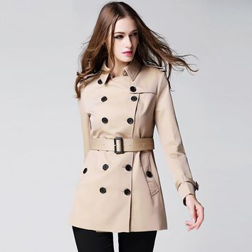 2017 Fashion Women's trench luxurious Mi-long Wind Coat with lapel belt buckle B Famous Brand Coat Anti Wrinkle classic outfit