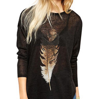 Feather Print Long Sleeve T-shirt