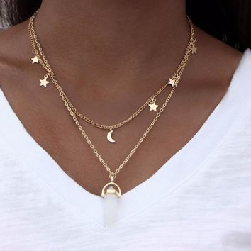 Moons, Stars, and Crystal Double Necklace
