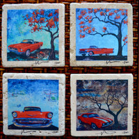 Fine Art Coasters, set of 4, Classic Muscle Cars, drink coaster, Chevrolet, Camaro, Mustang, bel air, Oldsmobile, stone, vintage, car,