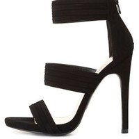 Pleated Triple Band High Heels by Charlotte Russe - Black