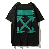 Off White Summer Fashion New Arrow Print Women Men Top T-Shirt Black
