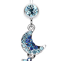 Star and Moon Lit Sky Belly Button Ring