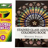 Crayola Pre Sharpened Colored Pencils with Coloring Book Set for Stress Relief and Relaxation for Adults