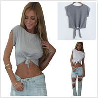 New women summer sexy midriff-baring shirt white grey solid cotton crop top o neck blouse = 1697110340